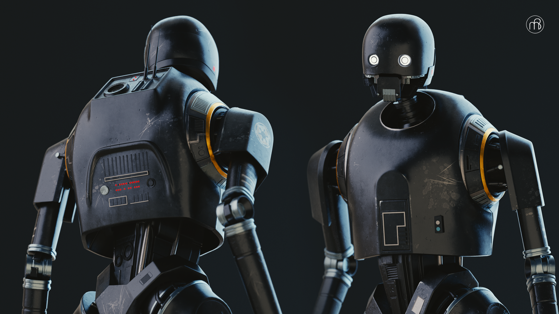 3D render of K-2SO from Star Wars